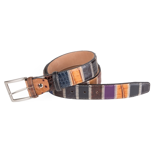 Luxury Multi Leather Patchwork Belt-accessories-Fifth Avenue Menswear