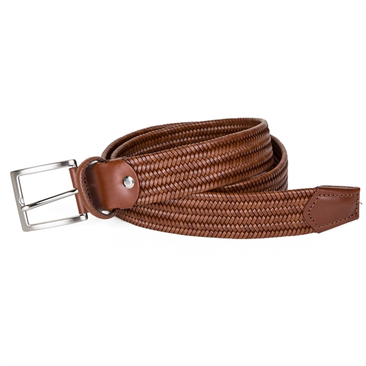 Luxury Stretch Woven Leather Belt-gifts-Fifth Avenue Menswear