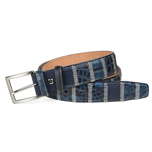 Luxury Blue Leather Patchwork Belt-accessories-Fifth Avenue Menswear