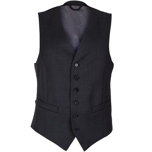 Mail Charcoal Wool Waistcoat-essentials-Fifth Avenue Menswear