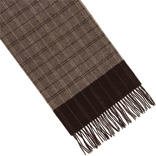 Herringbone Check Lambswool Scarf-accessories-Fifth Avenue Menswear