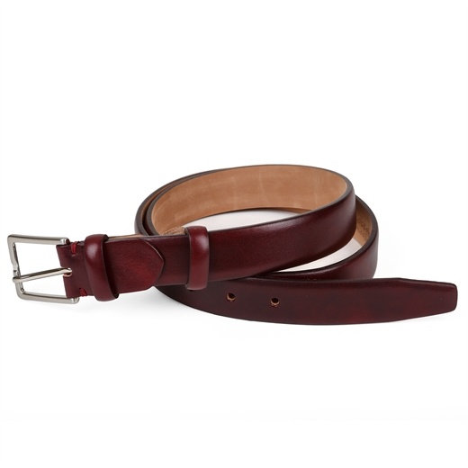 Slim Luxury Leather Bordo Dress Belt-accessories-Fifth Avenue Menswear
