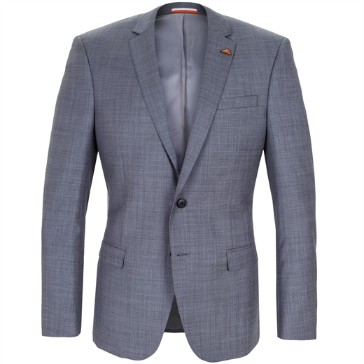 Lithium Grey Sharkskin Wool Suit Jacket-jackets-Fifth Avenue Menswear