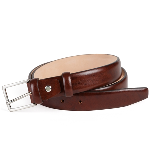 Slim Luxury Leather Brown Dress Belt-accessories-Fifth Avenue Menswear