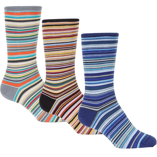 3 Pack Classic Multi Stripe Cotton Socks-essentials-Fifth Avenue Menswear