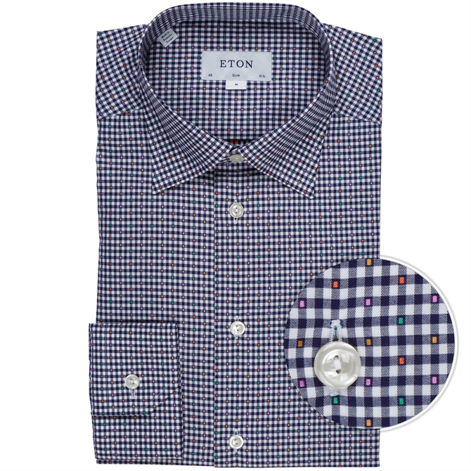Slim Fit Luxury Cotton Check Fil Coupe Dress Shirt