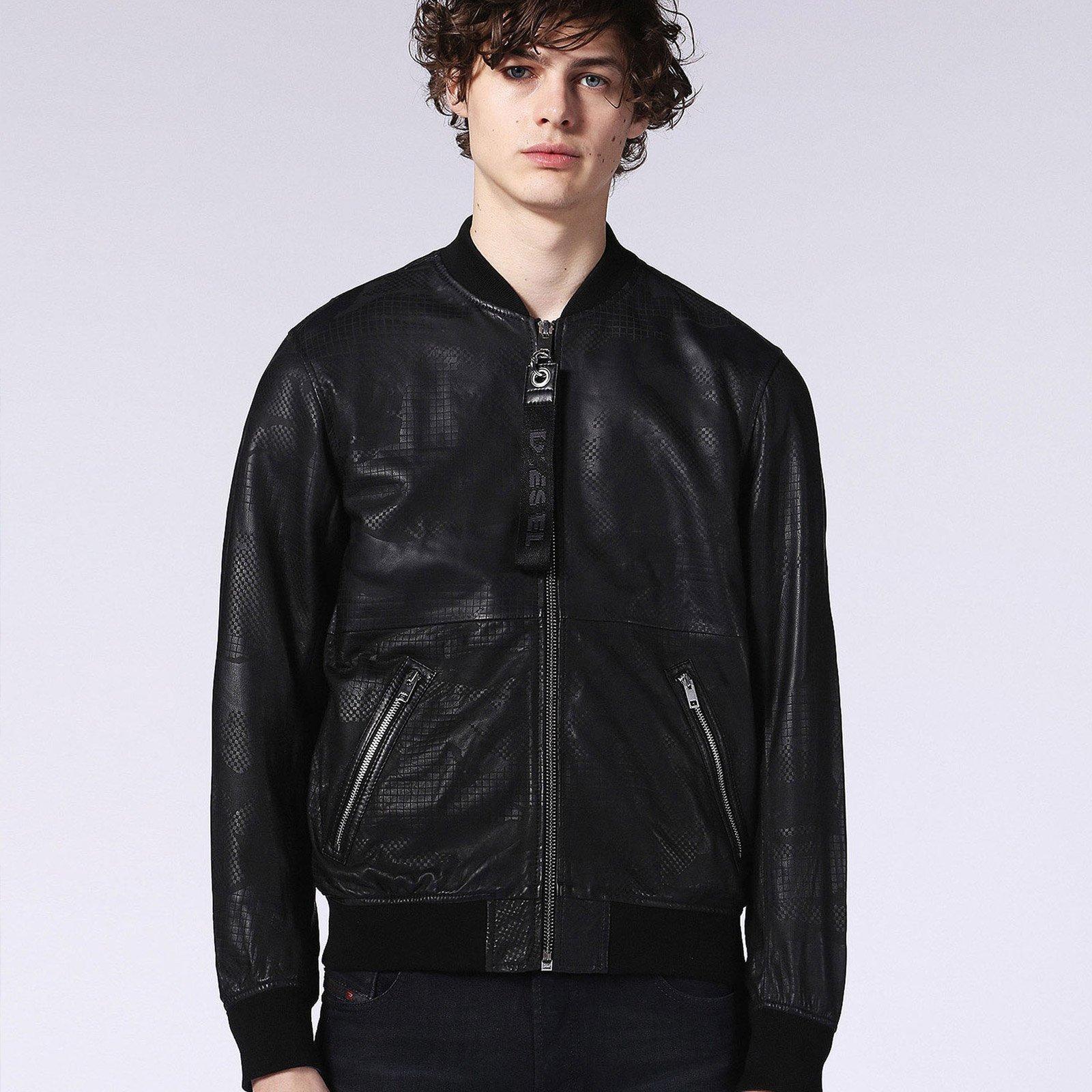 e169f9991 L-Parker Laser Print Leather Jacket - Jackets-Casual : Fifth Avenue ...