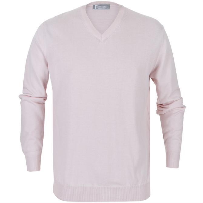 Luxury Cotton & Cashmere V Neck Pullover