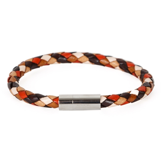 Multi-Coloured Plaited Leather Bracelet-gifts-Fifth Avenue Menswear