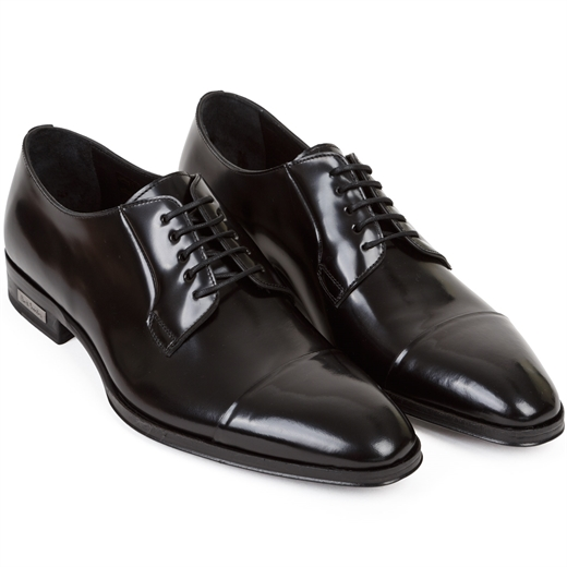 Spencer Hi-Shine Black Derby Dress Shoe-wedding-Fifth Avenue Menswear