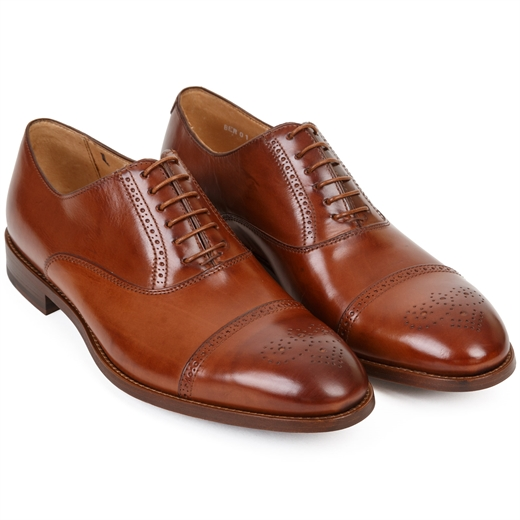 Bertin Tan Calf Oxford Brogue Dress Shoe-wedding-Fifth Avenue Menswear