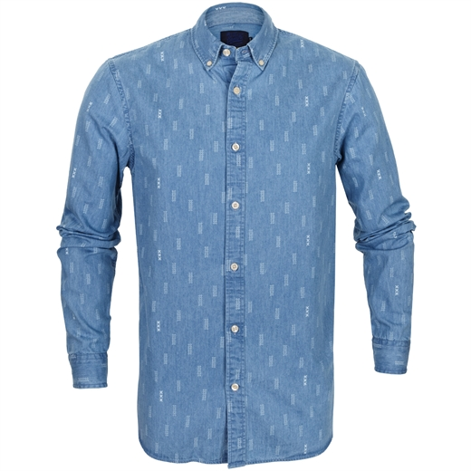 Button Down Printed Denim Casual Shirt-Fifth Avenue Menswear