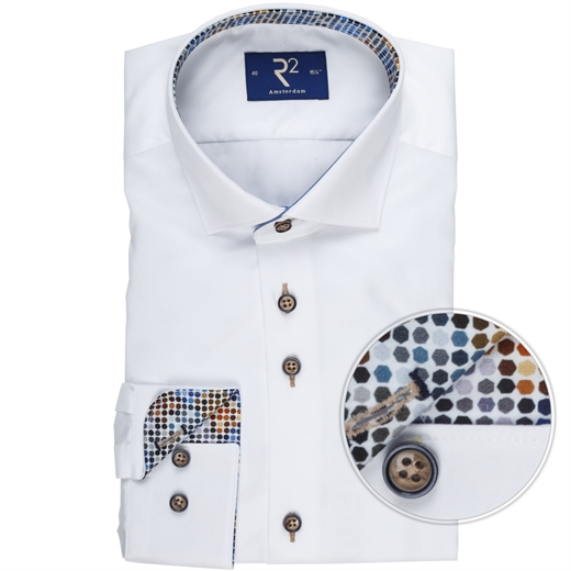 Luxury Cotton Twill Spot Trim Dress Shirt-wedding-Fifth Avenue Menswear