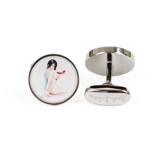 Naked Lady Pin-up Print Cufflinks-work-Fifth Avenue Menswear