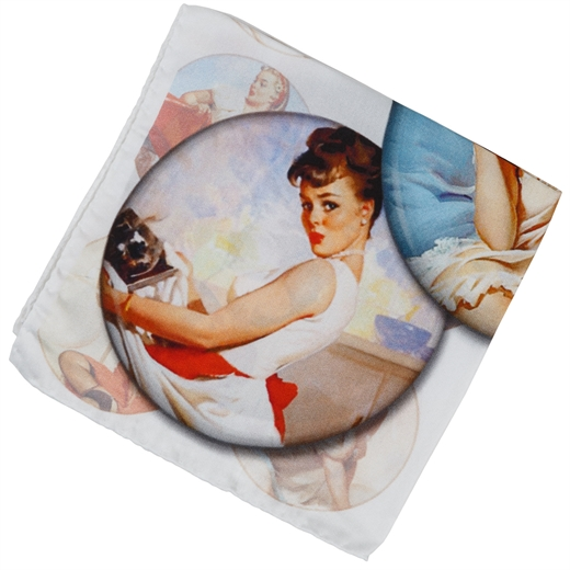 50's Pinup Girl Print Pocket Square-race day-Fifth Avenue Menswear