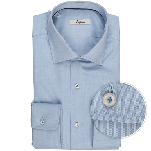 Turquoise Blue Oxford Cotton Dress Shirt-shirts-Fifth Avenue Menswear