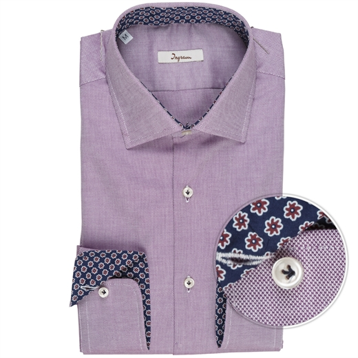 Micro Weave Cotton Shirt With Contrast Trim-shirts-Fifth Avenue Menswear