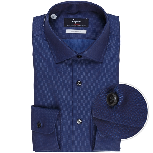 Luxury Cotton Herringbone & Dot Dress Shirt-shirts-Fifth Avenue Menswear