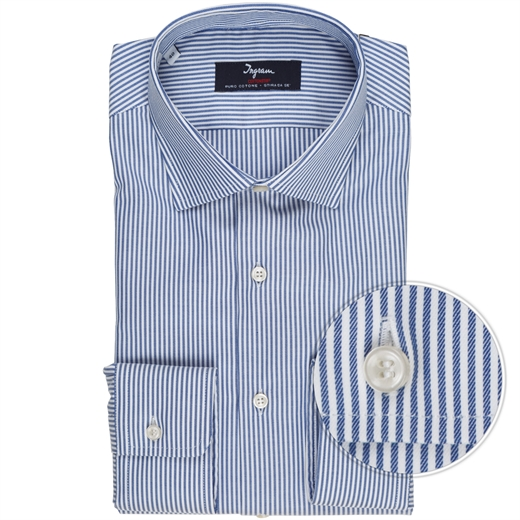 Luxury Cotton Bengal Stripe Dress Shirt-shirts-Fifth Avenue Menswear