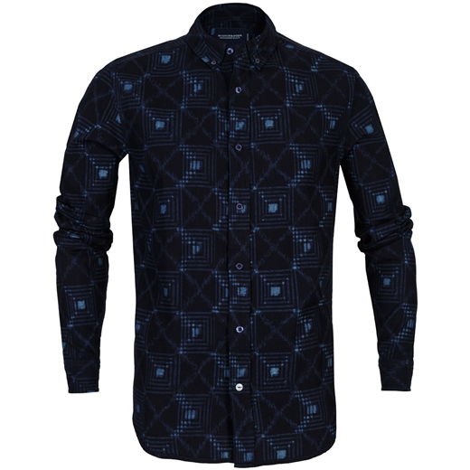 AMS Indigo Dyed Aztec Check Casual Shirt-shirts-Fifth Avenue Menswear