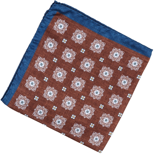Geometric Pattern Silk Pocket Square-race day-Fifth Avenue Menswear