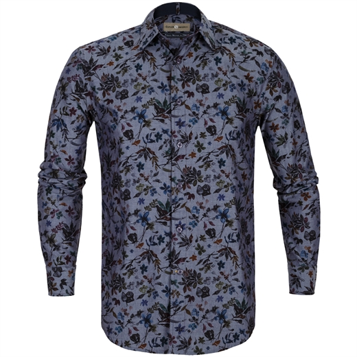 Nigel Floral Print Chambray Casual Shirt-shirts-Fifth Avenue Menswear