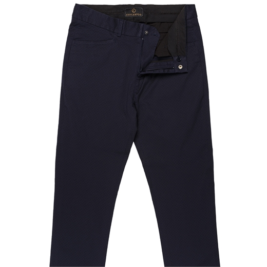 Danyon X-Pocket Micro Print Stretch Cotton Trousers-trousers-Fifth Avenue Menswear