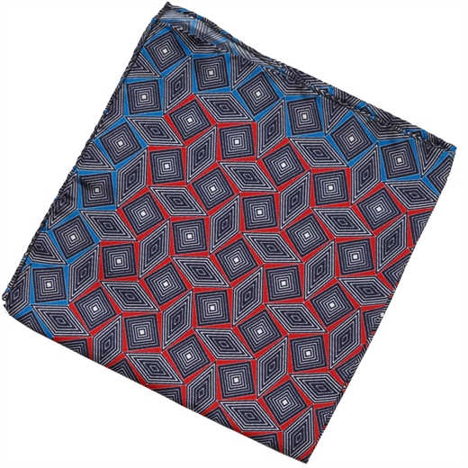 Geometric Diamonds Silk Pocket Square-formal wear-Fifth Avenue Menswear