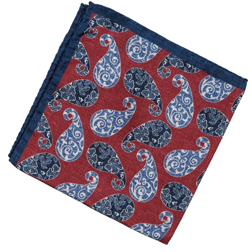 Paisley Print Silk Pocket Square-race day-Fifth Avenue Menswear