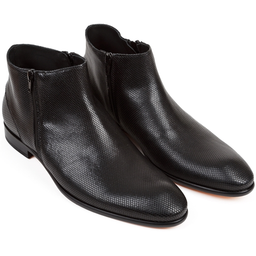 Gareth2 Riviera Black Double Zip Boots-essentials-Fifth Avenue Menswear