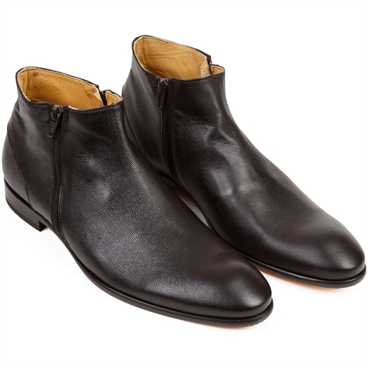 Gareth2 Raggio Dark Brown Double Zip Boots-shoes & boots-Fifth Avenue Menswear