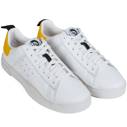 Clever White & Yellow Leather Sneakers-shoes & boots-Fifth Avenue Menswear