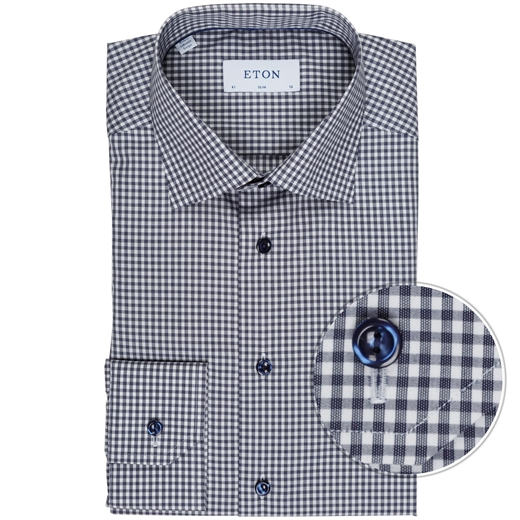 Slim Fit Luxury Cotton Gingham Check Shirt-new online-Fifth Avenue Menswear