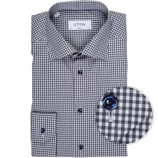 Super Slim Fit Luxury Cotton Gingham Check Shirt-new online-Fifth Avenue Menswear