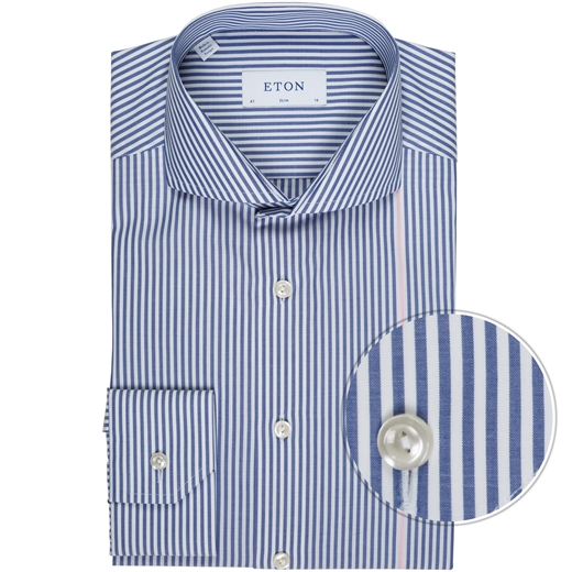 Slim Fit Luxury Cotton Detail Stripe Shirt-new online-Fifth Avenue Menswear