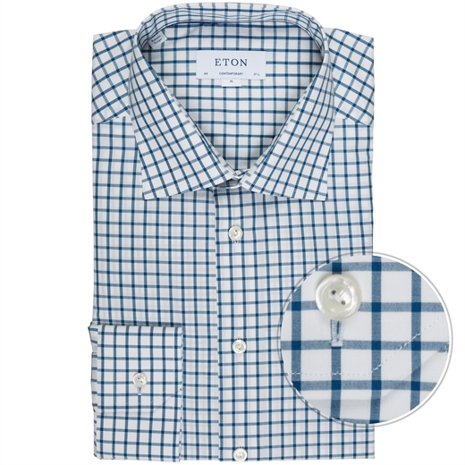 Contemporary Fit Luxury Cotton Big Check Shirt-new online-Fifth Avenue Menswear