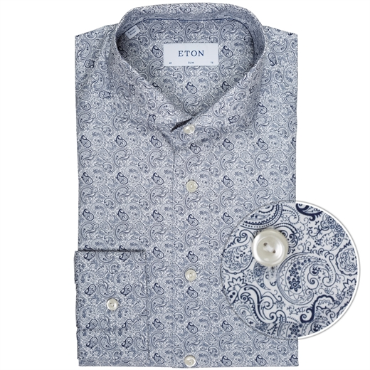 Slim Fit Luxury Cotton Paisley Print Shirt-new online-Fifth Avenue Menswear