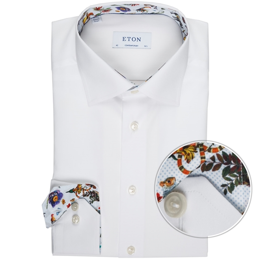 Contemporary Fit Luxury Cotton Poplin With Trim Shirt-wedding-Fifth Avenue Menswear