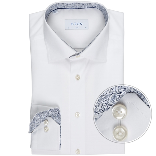 Slim Fit Luxury Cotton Poplin With Trim Shirt-wedding-Fifth Avenue Menswear