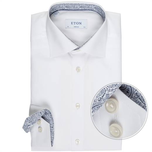 Super Slim Fit Luxury Cotton Poplin With Trim Shirt-wedding-Fifth Avenue Menswear
