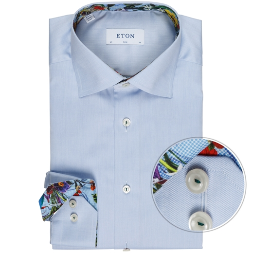 Slim Fit Luxury Cotton Twill With Trim Shirt-wedding-Fifth Avenue Menswear