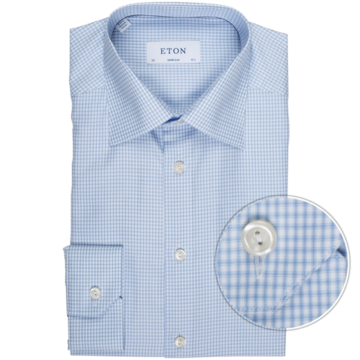 Super Slim Fit Luxury Cotton Shadow Check Shirt-new online-Fifth Avenue Menswear