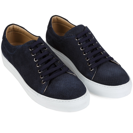 Kabi Lux Punched Suede Sneakers-holiday-Fifth Avenue Menswear