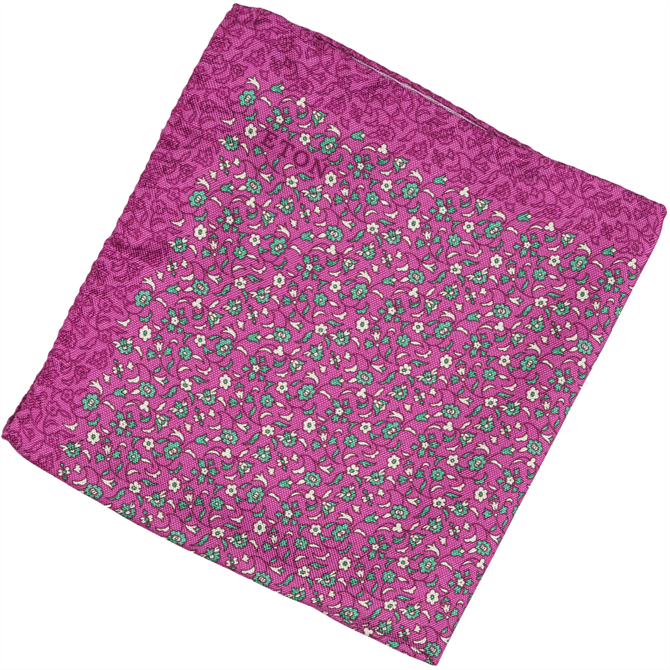 Micro Floral Silk Pocket Square