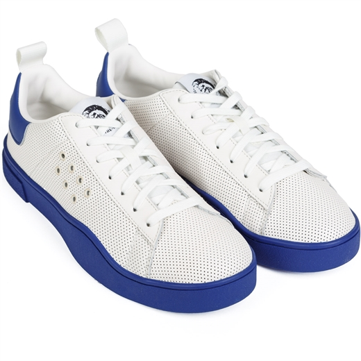 Clever White & Blue Punched Leather Sneakers-new online-Fifth Avenue Menswear