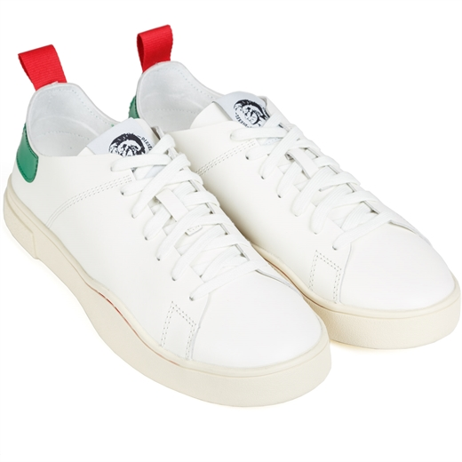 Clever White & Green Leather Sneakers-sneakers-Fifth Avenue Menswear