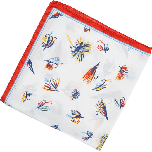 Fly Fish Hooks Print Silk Pocket Square-accessories-Fifth Avenue Menswear