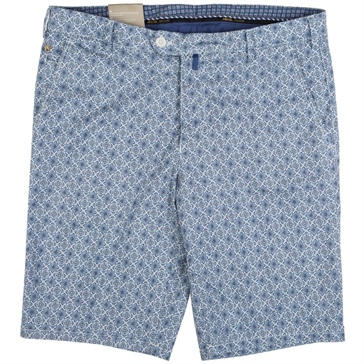Luxury Azulejo Print Stretch Cotton Shorts-holiday-Fifth Avenue Menswear