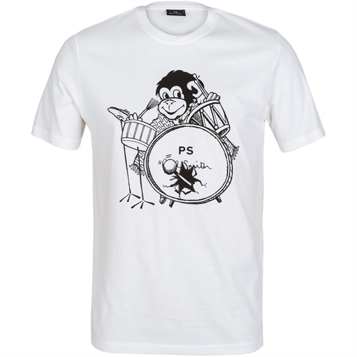 Organic Cotton Drummer Monkey Print T-Shirt-holiday-Fifth Avenue Menswear