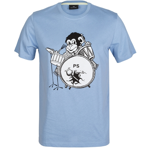 Organic Cotton Drummer Monkey Print T-Shirt-new online-Fifth Avenue Menswear